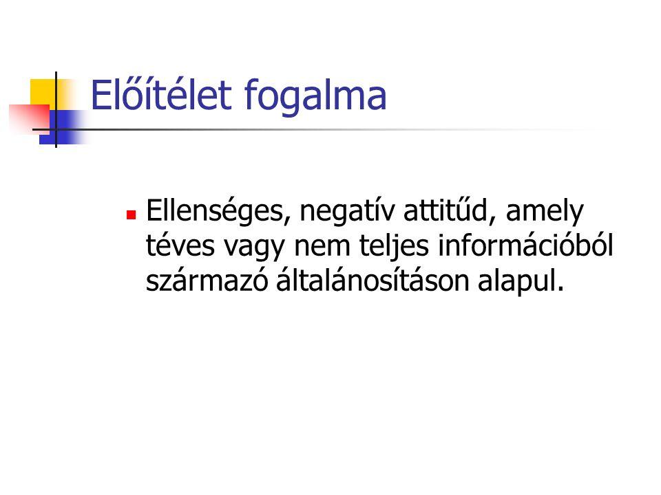 Előítélet fogalma Ellenséges, negatív attitűd, amely téves vagy nem teljes információból származó általánosításon alapul.