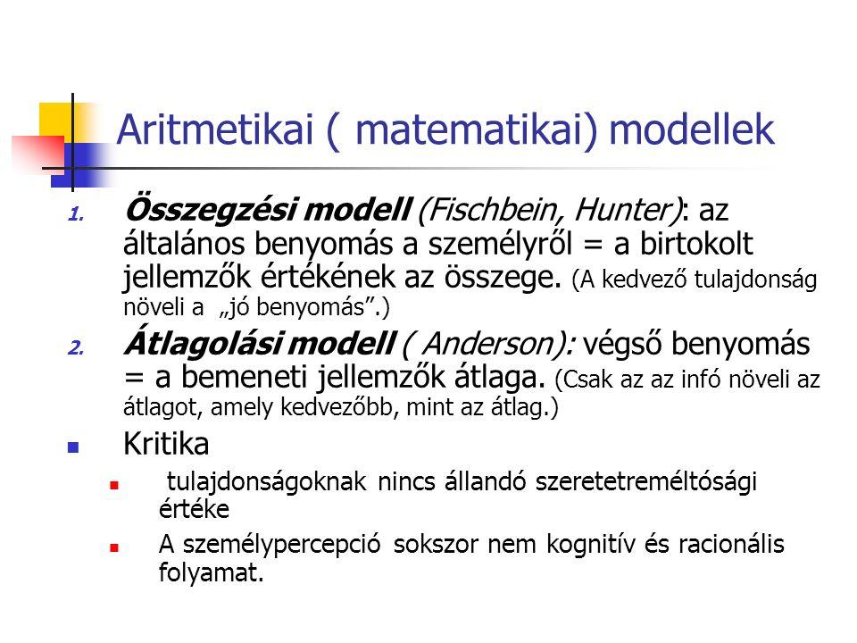 Aritmetikai ( matematikai) modellek 1.