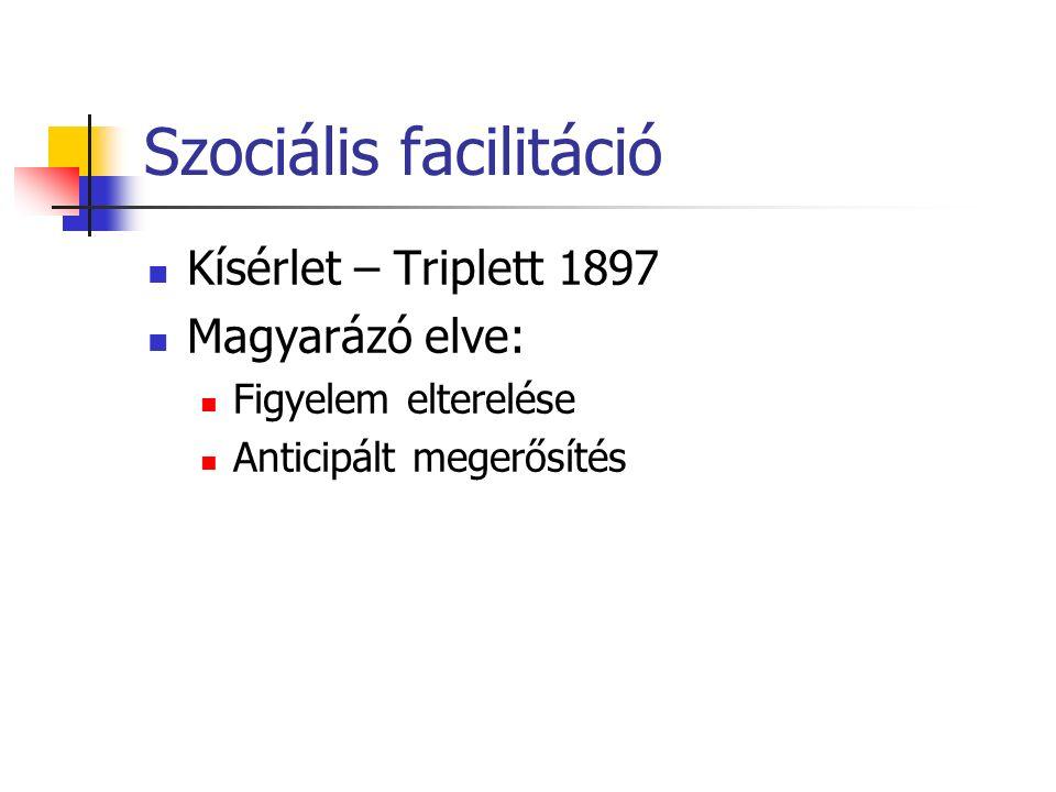 Szociális facilitáció Kísérlet – Triplett 1897 Magyarázó elve: Figyelem elterelése Anticipált megerősítés