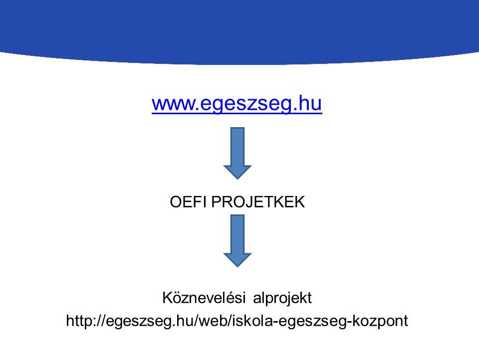 www.egeszseg.hu OEFI PROJETKEK Köznevelési alprojekt http://egeszseg.hu/web/iskola-egeszseg-kozpont