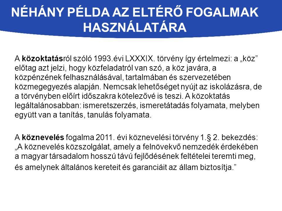 NÉHÁNY PÉLDA AZ ELTÉRŐ FOGALMAK HASZNÁLATÁRA A közoktatásról szóló 1993.évi LXXXIX.