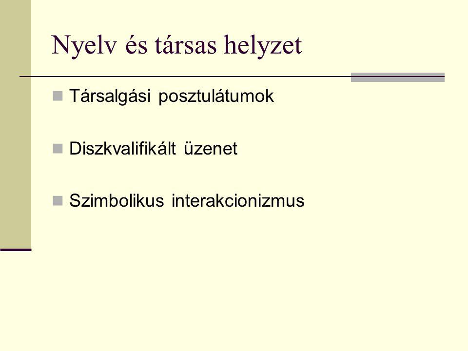 Nyelv és társas helyzet Társalgási posztulátumok Diszkvalifikált üzenet Szimbolikus interakcionizmus