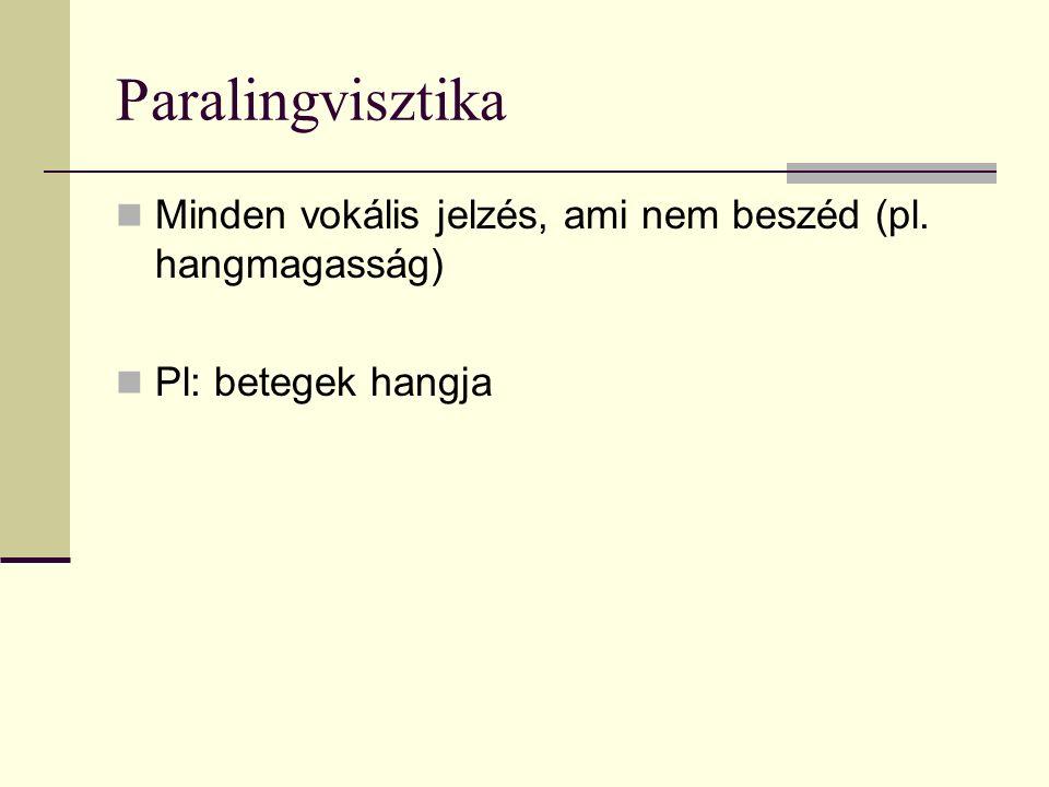 Paralingvisztika Minden vokális jelzés, ami nem beszéd (pl. hangmagasság) Pl: betegek hangja