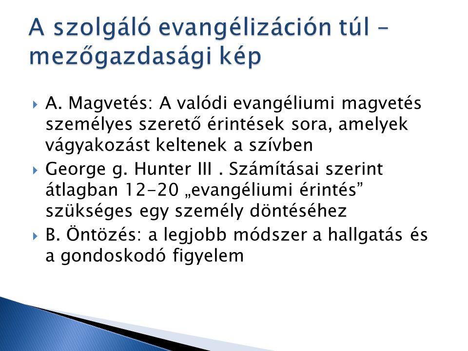  A. Magvetés: A valódi evangéliumi magvetés személyes szerető érintések sora, amelyek vágyakozást keltenek a szívben  George g. Hunter III. Számítás