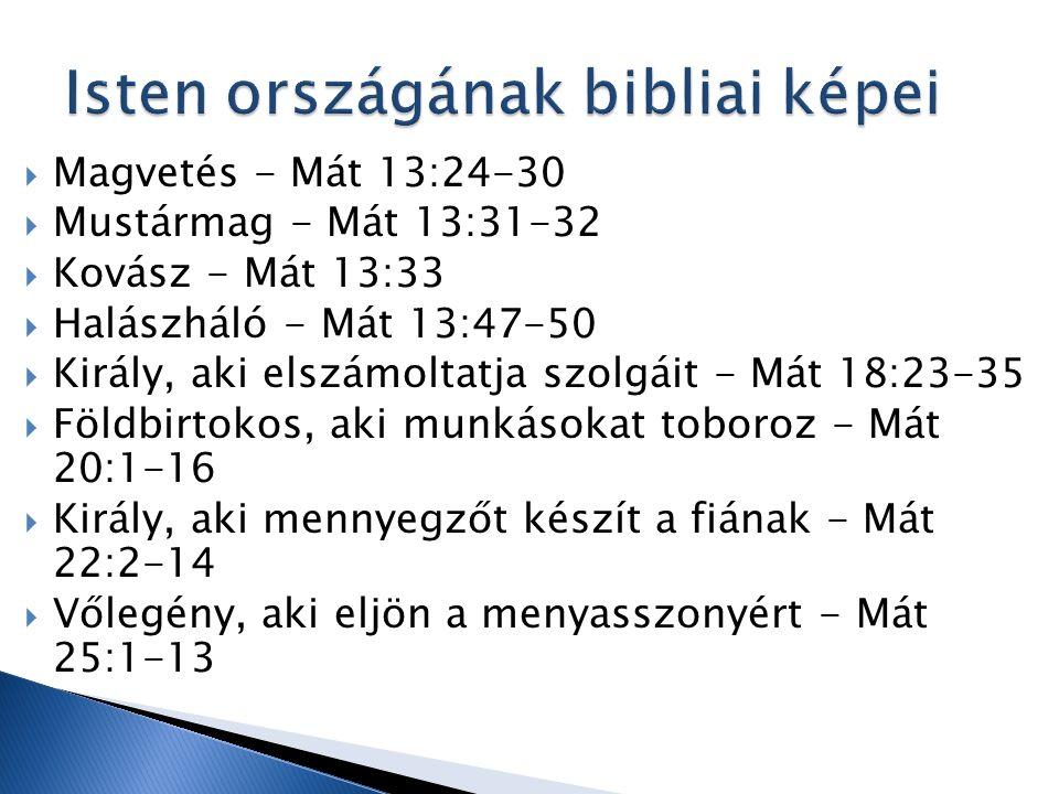  Magvetés - Mát 13:24-30  Mustármag - Mát 13:31-32  Kovász - Mát 13:33  Halászháló - Mát 13:47-50  Király, aki elszámoltatja szolgáit - Mát 18:23-35  Földbirtokos, aki munkásokat toboroz - Mát 20:1-16  Király, aki mennyegzőt készít a fiának - Mát 22:2-14  Vőlegény, aki eljön a menyasszonyért - Mát 25:1-13