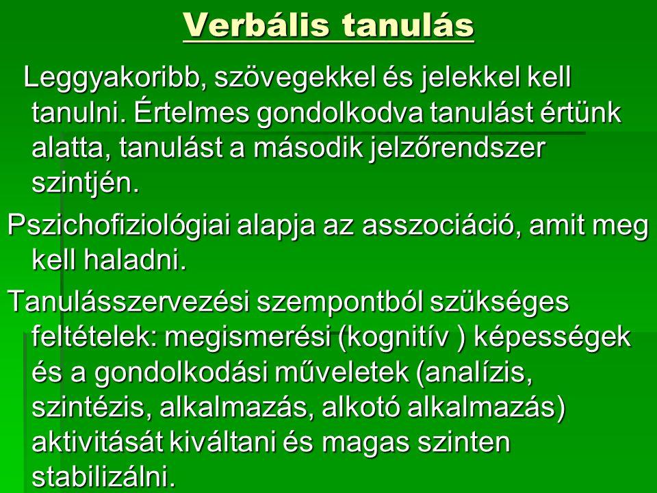 Verbális tanulás Leggyakoribb, szövegekkel és jelekkel kell tanulni.