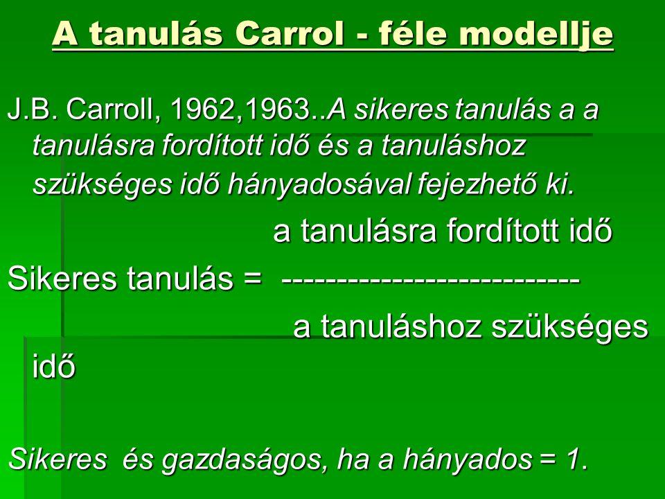 A tanulás Carrol - féle modellje J.B.