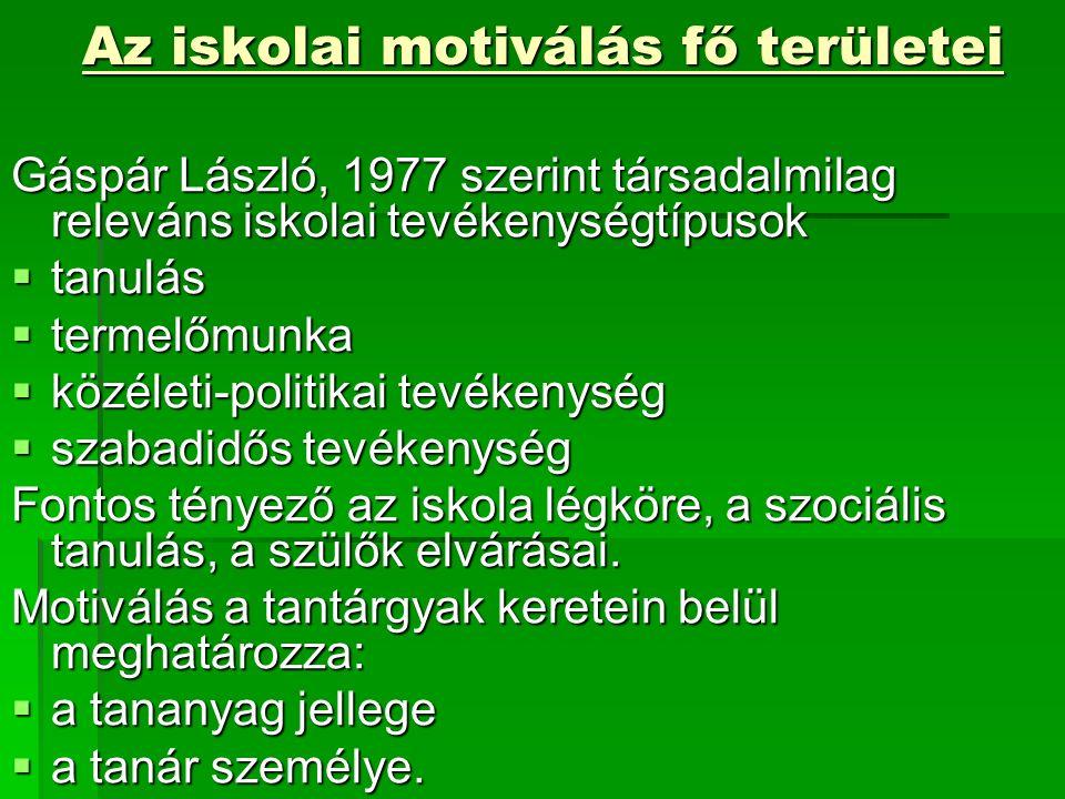 Az iskolai motiválás fő területei Gáspár László, 1977 szerint társadalmilag releváns iskolai tevékenységtípusok  tanulás  termelőmunka  közéleti-politikai tevékenység  szabadidős tevékenység Fontos tényező az iskola légköre, a szociális tanulás, a szülők elvárásai.