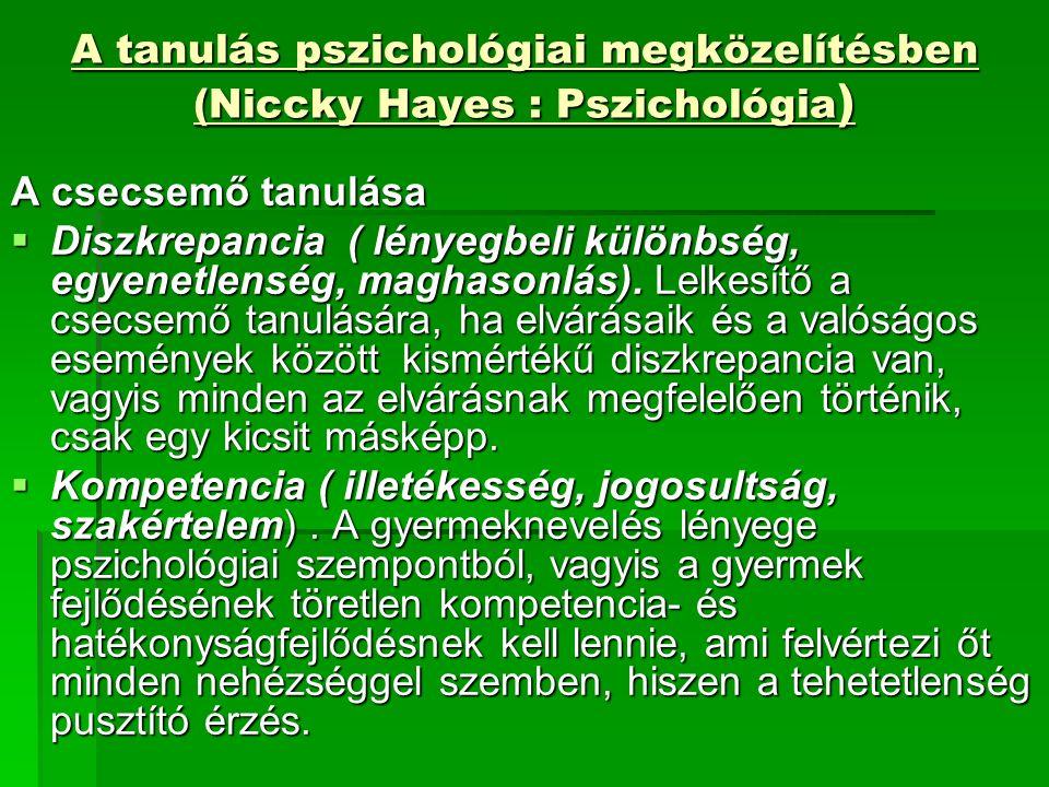 A tanulás pszichológiai megközelítésben (Niccky Hayes : Pszichológia ) A csecsemő tanulása  Diszkrepancia ( lényegbeli különbség, egyenetlenség, maghasonlás).