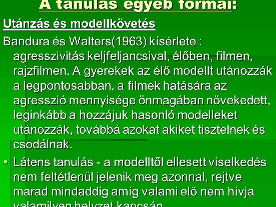 A tanulás egyéb formái: Utánzás és modellkövetés Bandura és Walters(1963) kísérlete : agresszivitás keljfeljancsival, élőben, filmen, rajzfilmen.
