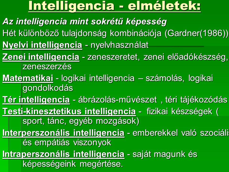 Intelligencia - elméletek: Az intelligencia mint sokrétű képesség Hét különböző tulajdonság kombinációja (Gardner(1986)): Nyelvi intelligencia - nyelvhasználat Zenei intelligencia - zeneszeretet, zenei előadókészség, zeneszerzés Matematikai - logikai intelligencia – számolás, logikai gondolkodás Tér intelligencia - ábrázolás-művészet, téri tájékozódás Testi-kinesztetikus intelligencia - fizikai készségek ( sport, tánc, egyéb mozgások) Interperszonális intelligencia - emberekkel való szociális és empátiás viszonyok Intraperszonális intelligencia - saját magunk és képességeink megértése.