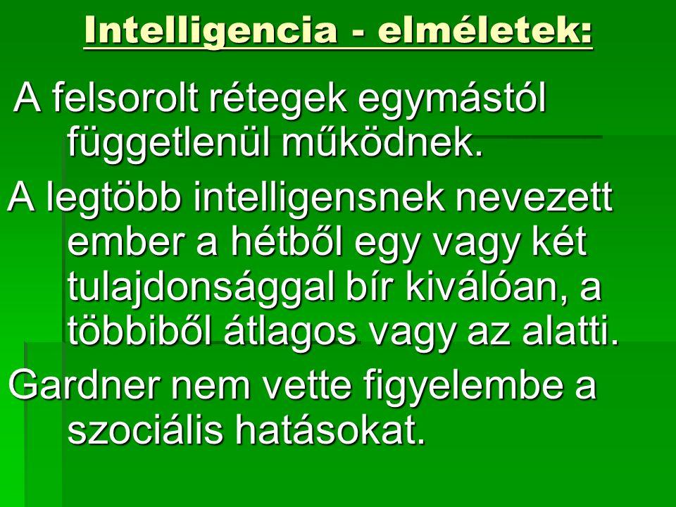 Intelligencia - elméletek: A felsorolt rétegek egymástól függetlenül működnek.