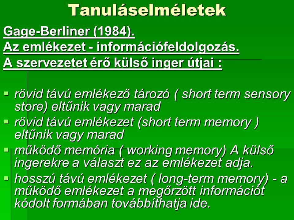 Tanuláselméletek Gage-Berliner (1984). Az emlékezet - információfeldolgozás.
