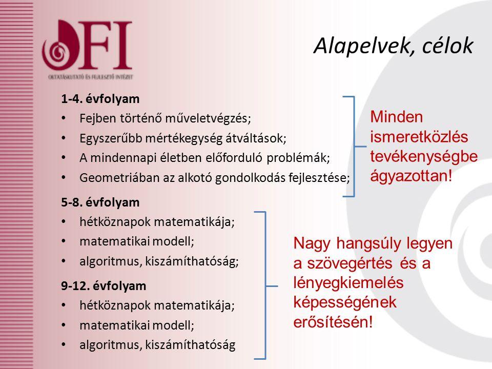 1-4. évfolyam Fejben történő műveletvégzés; Egyszerűbb mértékegység átváltások; A mindennapi életben előforduló problémák; Geometriában az alkotó gond