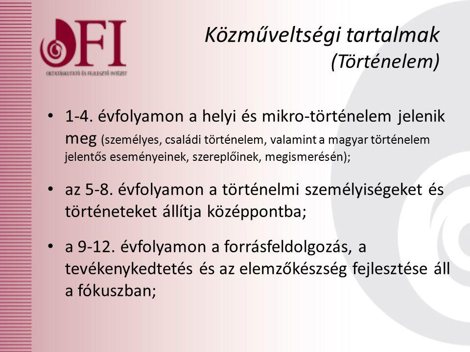 1-4. évfolyamon a helyi és mikro-történelem jelenik meg (személyes, családi történelem, valamint a magyar történelem jelentős eseményeinek, szereplőin