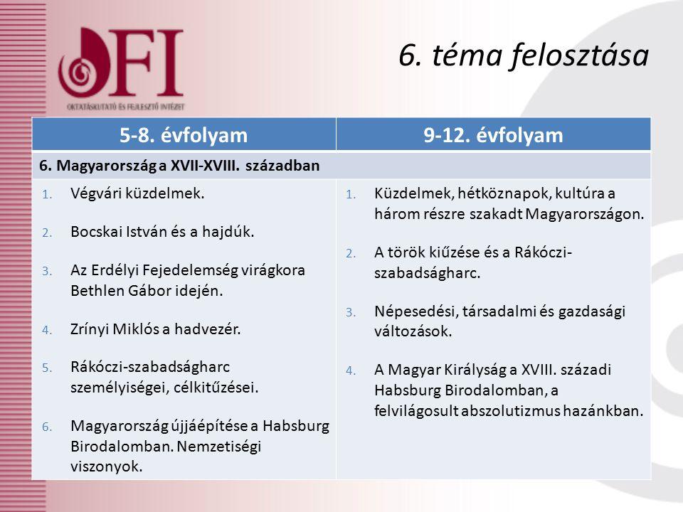 5-8. évfolyam9-12. évfolyam 6. Magyarország a XVII-XVIII.