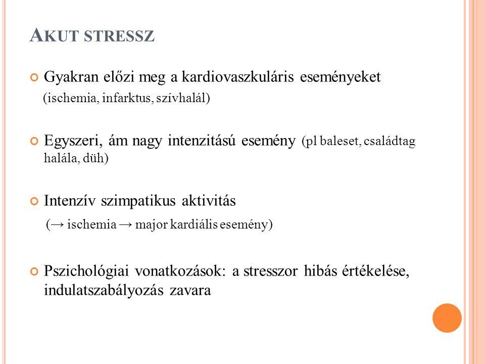 A KUT STRESSZ Gyakran előzi meg a kardiovaszkuláris eseményeket (ischemia, infarktus, szívhalál) Egyszeri, ám nagy intenzitású esemény (pl baleset, családtag halála, düh) Intenzív szimpatikus aktivitás (→ ischemia → major kardiális esemény) Pszichológiai vonatkozások: a stresszor hibás értékelése, indulatszabályozás zavara