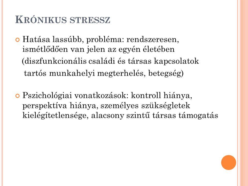 K RÓNIKUS STRESSZ Hatása lassúbb, probléma: rendszeresen, ismétlődően van jelen az egyén életében (diszfunkcionális családi és társas kapcsolatok tart