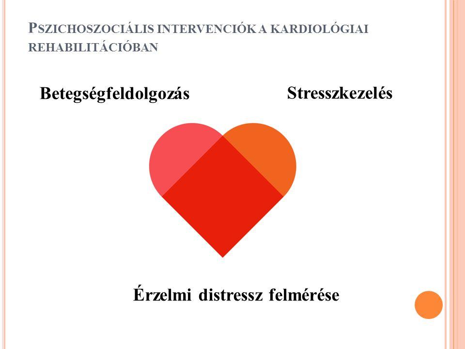 P SZICHOSZOCIÁLIS INTERVENCIÓK A KARDIOLÓGIAI REHABILITÁCIÓBAN Betegségfeldolgozás Stresszkezelés Érzelmi distressz felmérése