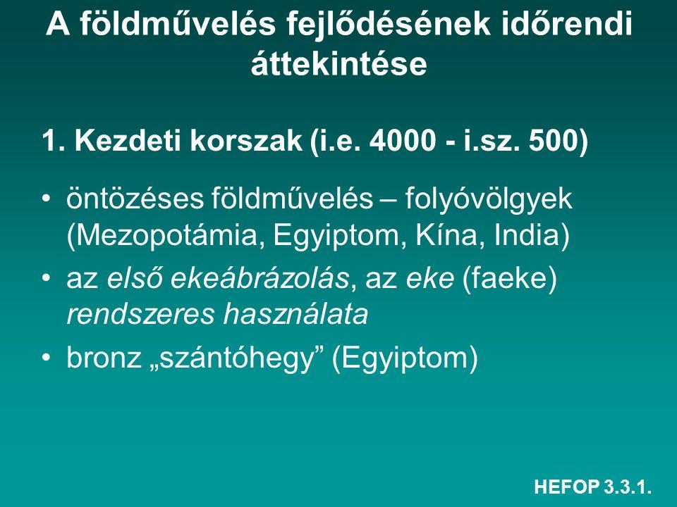 HEFOP 3.3.1. A földművelés fejlődésének időrendi áttekintése 1. Kezdeti korszak (i.e. 4000 - i.sz. 500) öntözéses földművelés – folyóvölgyek (Mezopotá