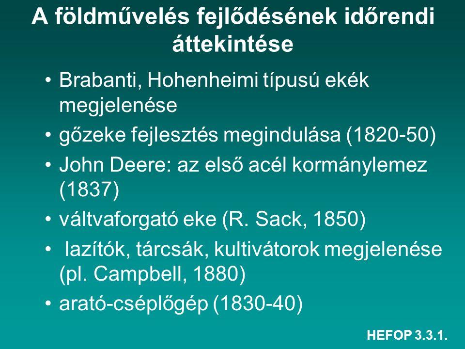 HEFOP 3.3.1. A földművelés fejlődésének időrendi áttekintése Brabanti, Hohenheimi típusú ekék megjelenése gőzeke fejlesztés megindulása (1820-50) John