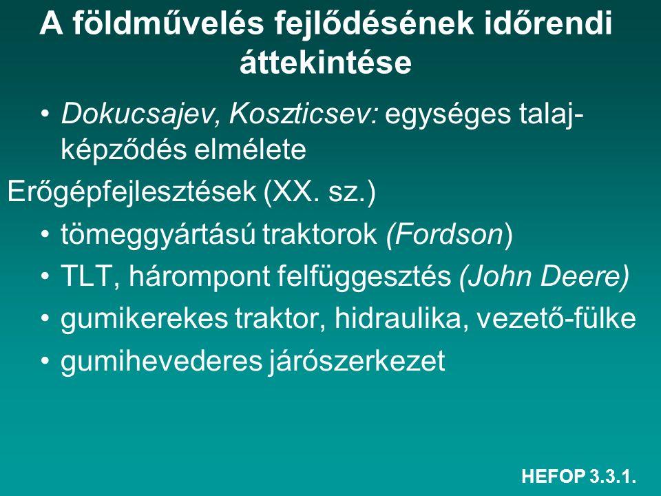 HEFOP 3.3.1. A földművelés fejlődésének időrendi áttekintése Dokucsajev, Koszticsev: egységes talaj- képződés elmélete Erőgépfejlesztések (XX. sz.) tö