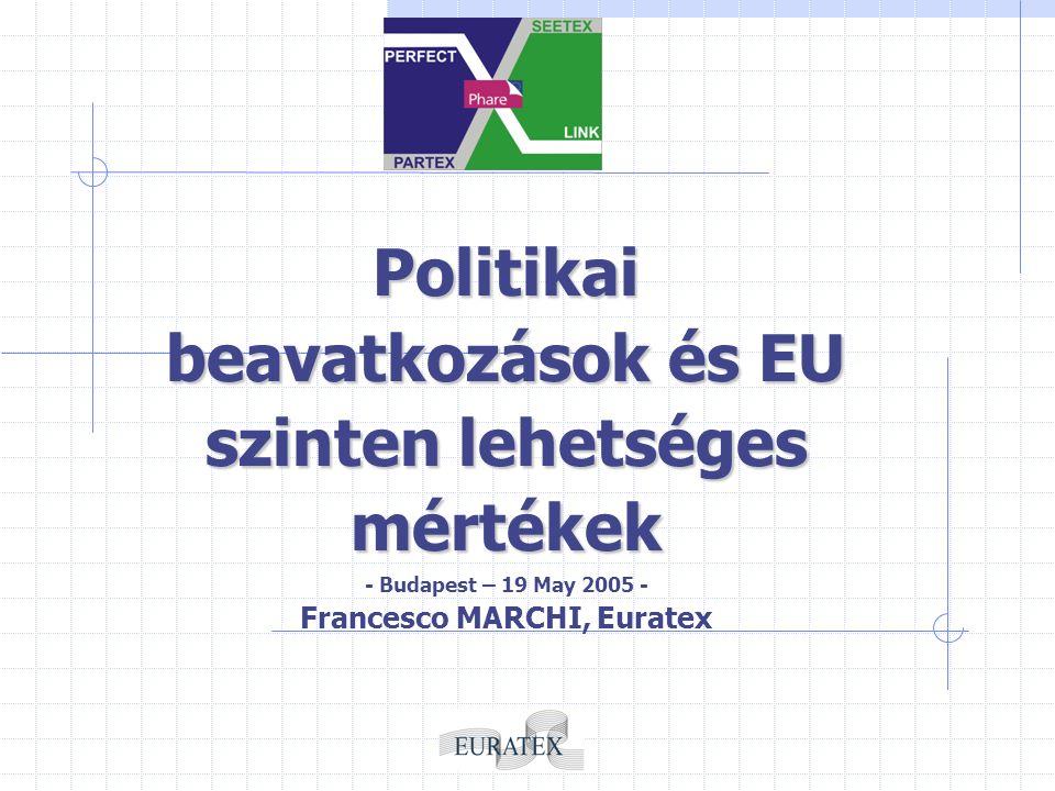 Politikai beavatkozások és EU szinten lehetséges mértékek - Budapest – 19 May 2005 - Francesco MARCHI, Euratex