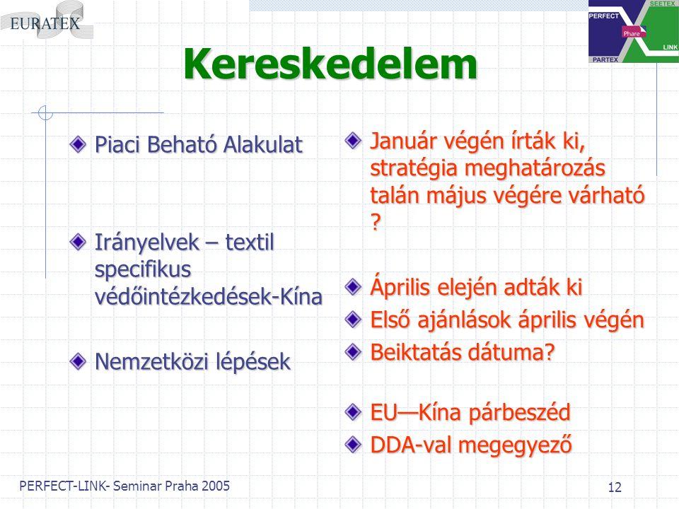 PERFECT-LINK- Seminar Praha 2005 12 Kereskedelem Piaci Beható Alakulat Irányelvek – textil specifikus védőintézkedések-Kína Nemzetközi lépések Január végén írták ki, stratégia meghatározás talán május végére várható .