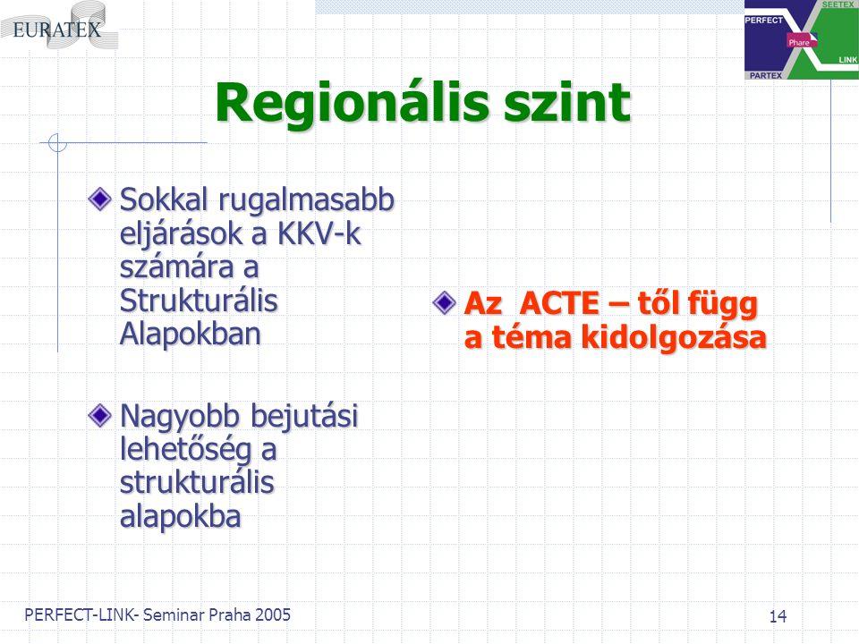 PERFECT-LINK- Seminar Praha 2005 14 Regionális szint Sokkal rugalmasabb eljárások a KKV-k számára a Strukturális Alapokban Nagyobb bejutási lehetőség a strukturális alapokba Az A A A ACTE – től függ a téma kidolgozása