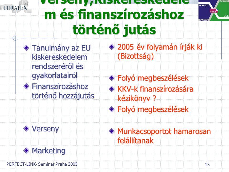 PERFECT-LINK- Seminar Praha 2005 15 Verseny,Kiskereskedele m és finanszírozáshoz történő jutás Tanulmány az EU kiskereskedelem rendszeréről és gyakorlatairól Finanszírozáshoz történő hozzájutás VersenyMarketing 2005 év folyamán írják ki (Bizottság) Folyó megbeszélések KKV-k finanszírozására kézikönyv .