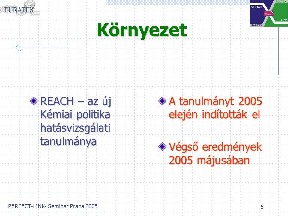 PERFECT-LINK- Seminar Praha 2005 5 Környezet REACH – az új Kémiai politika hatásvizsgálati tanulmánya A tanulmányt 2005 elején indították el Végső eredmények 2005 májusában
