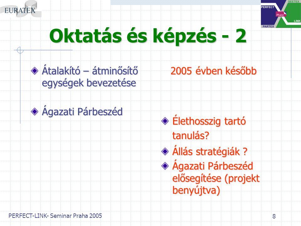 PERFECT-LINK- Seminar Praha 2005 8 Oktatás és képzés - 2 Átalakító – átminősítő egységek bevezetése Ágazati Párbeszéd 2 2005 évben később Élethosszig tartó tanulás.