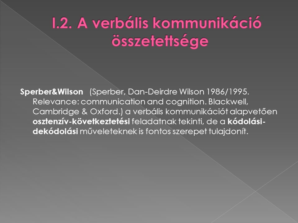 Sperber&Wilson (Sperber, Dan-Deirdre Wilson 1986/1995.