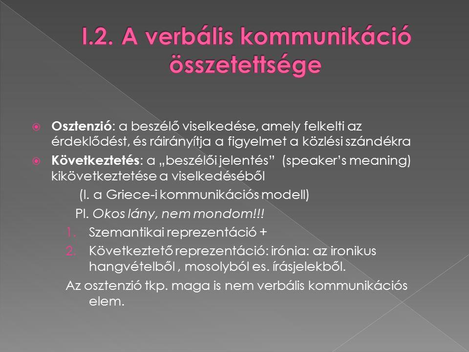 """ Osztenzió : a beszélő viselkedése, amely felkelti az érdeklődést, és ráirányítja a figyelmet a közlési szándékra  Következtetés : a """"beszélői jelentés (speaker's meaning) kikövetkeztetése a viselkedéséből (l."""