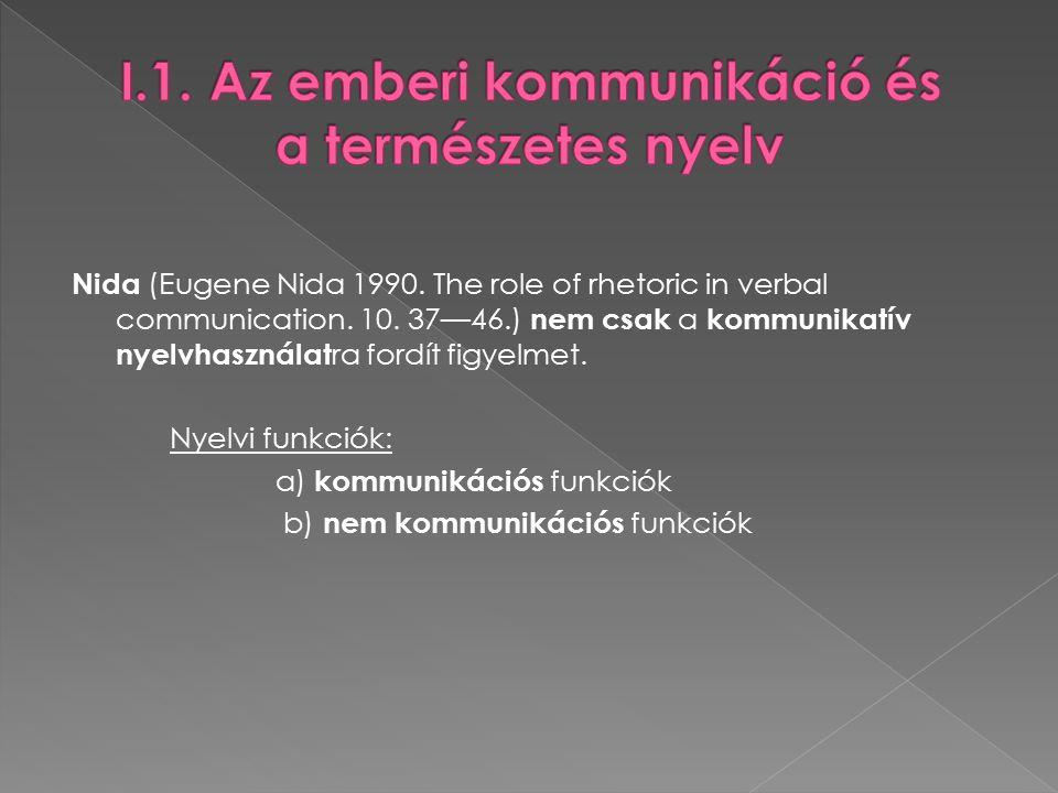 """1.Kommunikatív nyelvhasználat –""""külső beszéd Szükség van partner re (címzettre)!!!."""