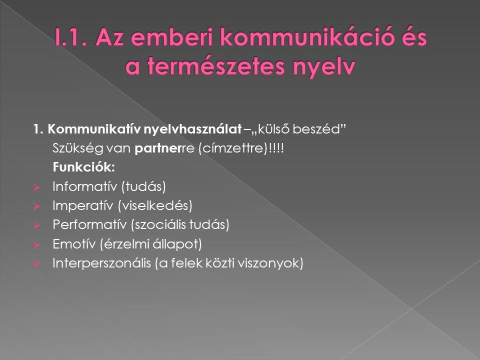 """1. Kommunikatív nyelvhasználat –""""külső beszéd Szükség van partner re (címzettre)!!!."""