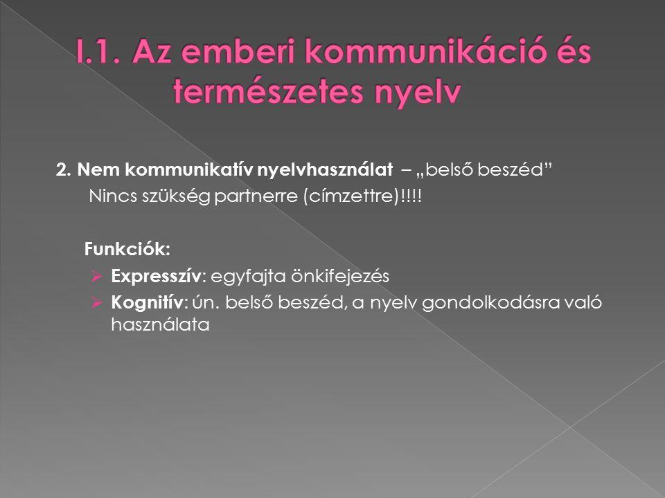 """2. Nem kommunikatív nyelvhasználat – """"belső beszéd Nincs szükség partnerre (címzettre)!!!."""