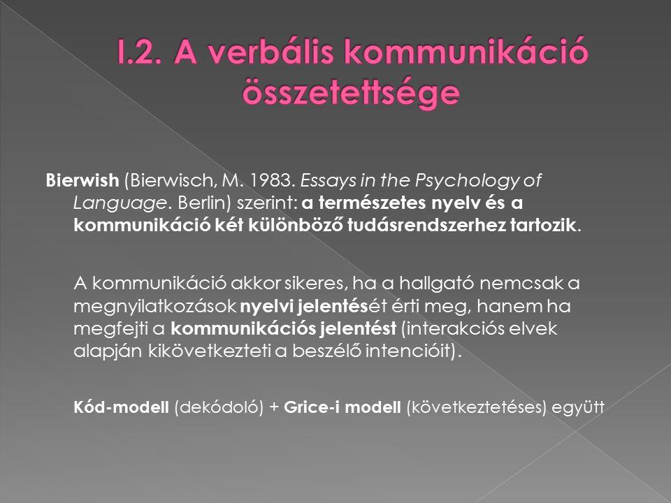 Levelt beszédprodukciós modelljének jellemzői 1.