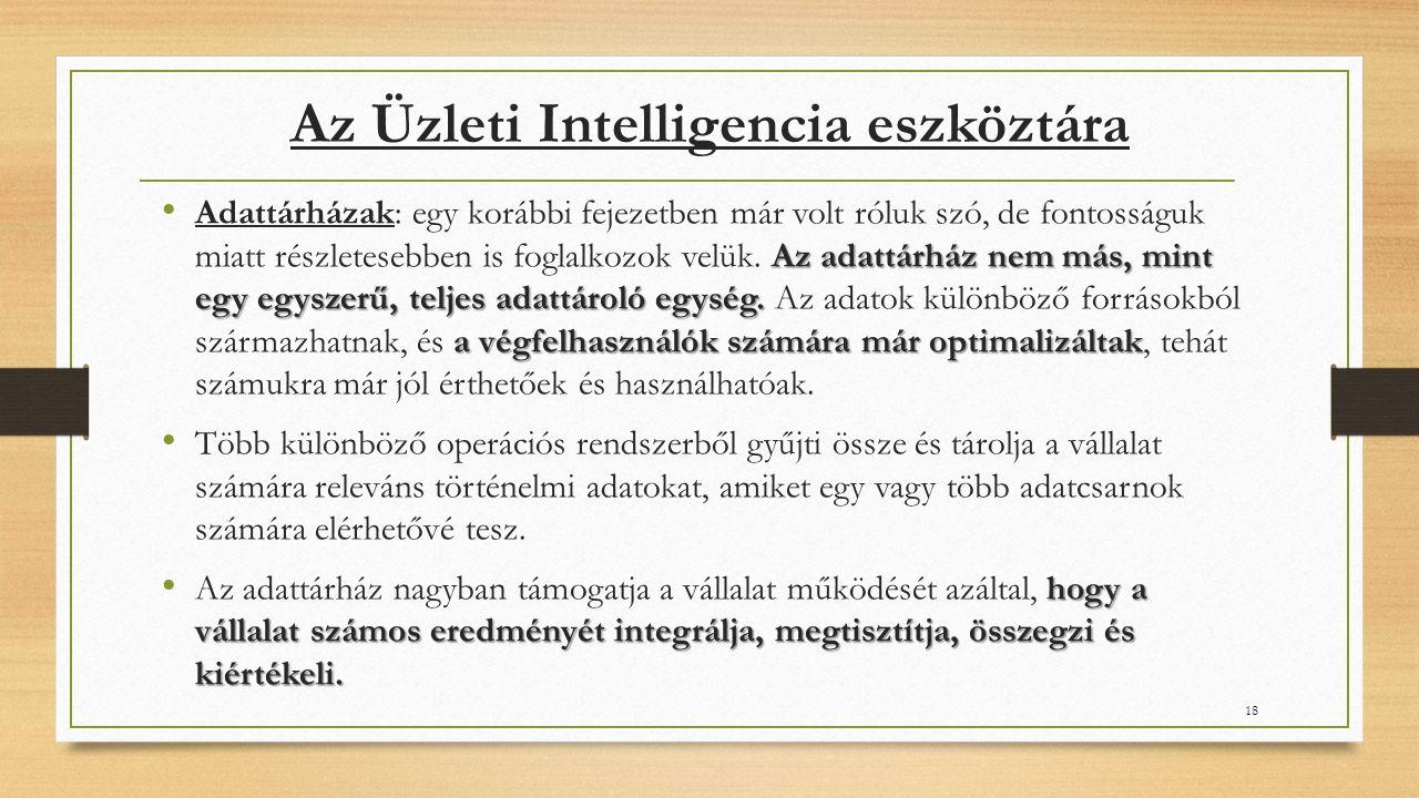 Az Üzleti Intelligencia eszköztára Az adattárház nem más, mint egy egyszerű, teljes adattároló egység.