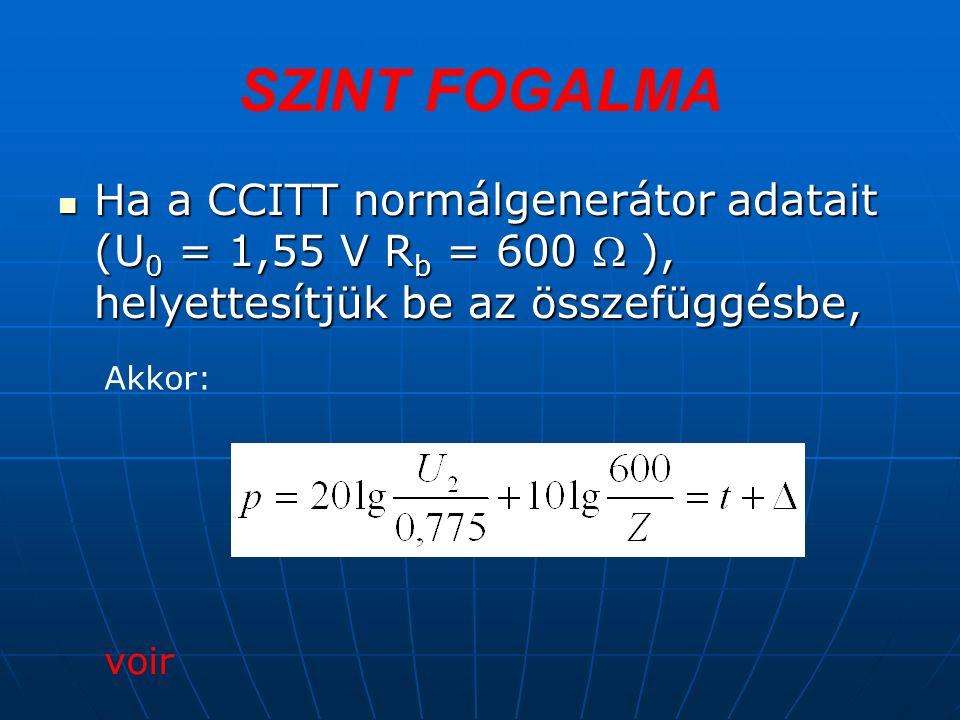 Ha a CCITT normálgenerátor adatait (U 0 = 1,55 V R b = 600  ), helyettesítjük be az összefüggésbe, Ha a CCITT normálgenerátor adatait (U 0 = 1,55 V R b = 600  ), helyettesítjük be az összefüggésbe, voir Akkor: