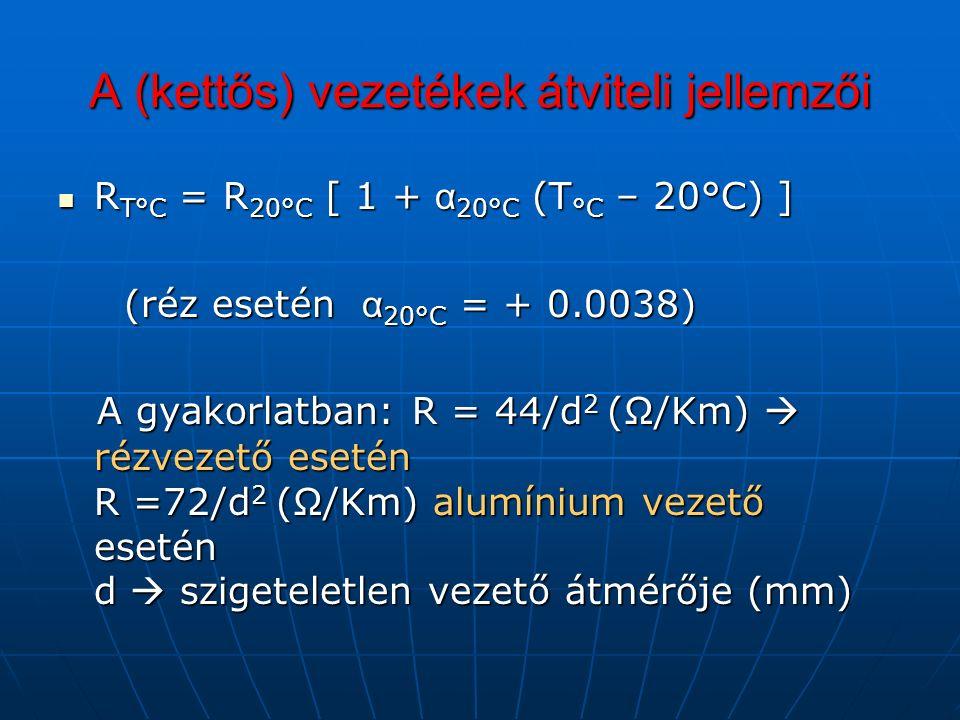 A (kettős) vezetékek átviteli jellemzői R T°C = R 20°C [ 1 + α 20°C (T °C – 20°C) ] R T°C = R 20°C [ 1 + α 20°C (T °C – 20°C) ] (réz esetén α 20°C = + 0.0038) (réz esetén α 20°C = + 0.0038) A gyakorlatban: R = 44/d 2 (Ω/Km)  rézvezető esetén R =72/d 2 (Ω/Km) alumínium vezető esetén d  szigeteletlen vezető átmérője (mm) A gyakorlatban: R = 44/d 2 (Ω/Km)  rézvezető esetén R =72/d 2 (Ω/Km) alumínium vezető esetén d  szigeteletlen vezető átmérője (mm)