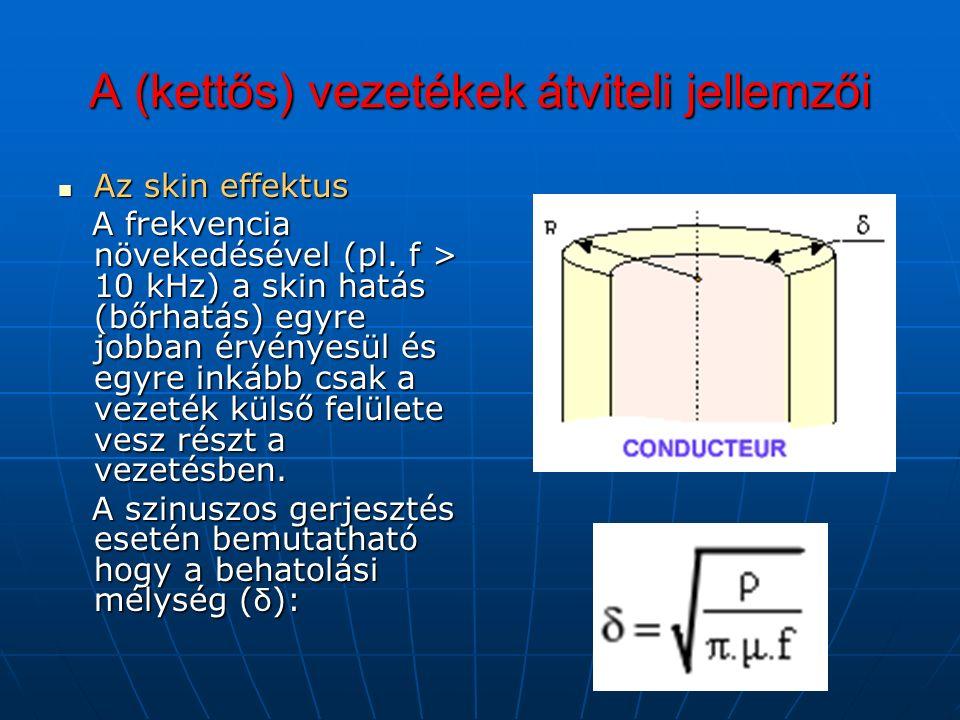 A (kettős) vezetékek átviteli jellemzői Az skin effektus Az skin effektus A frekvencia növekedésével (pl.