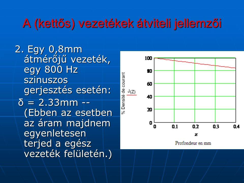 A (kettős) vezetékek átviteli jellemzői 2.