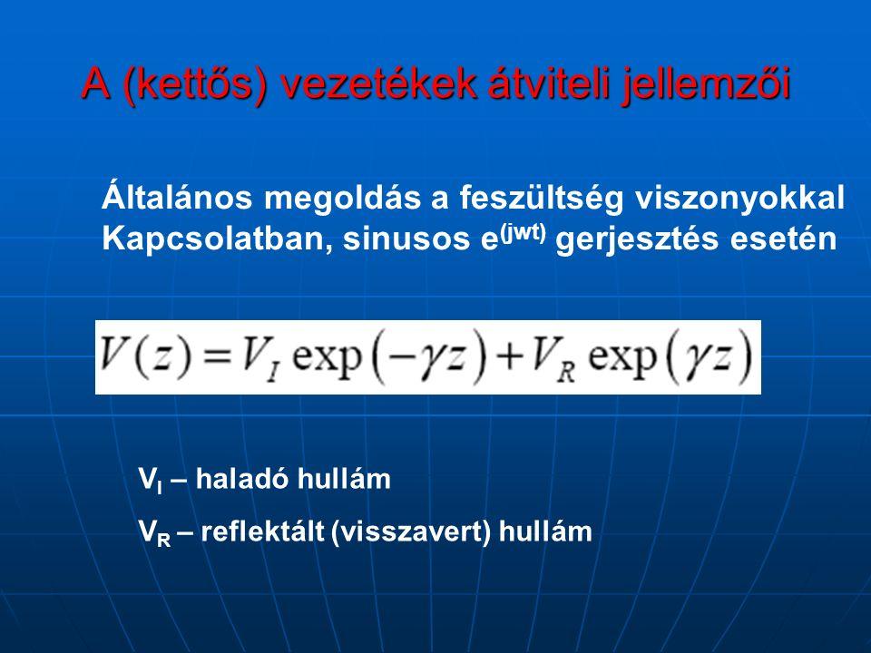 Általános megoldás a feszültség viszonyokkal Kapcsolatban, sinusos e (jwt) gerjesztés esetén V I – haladó hullám V R – reflektált (visszavert) hullám