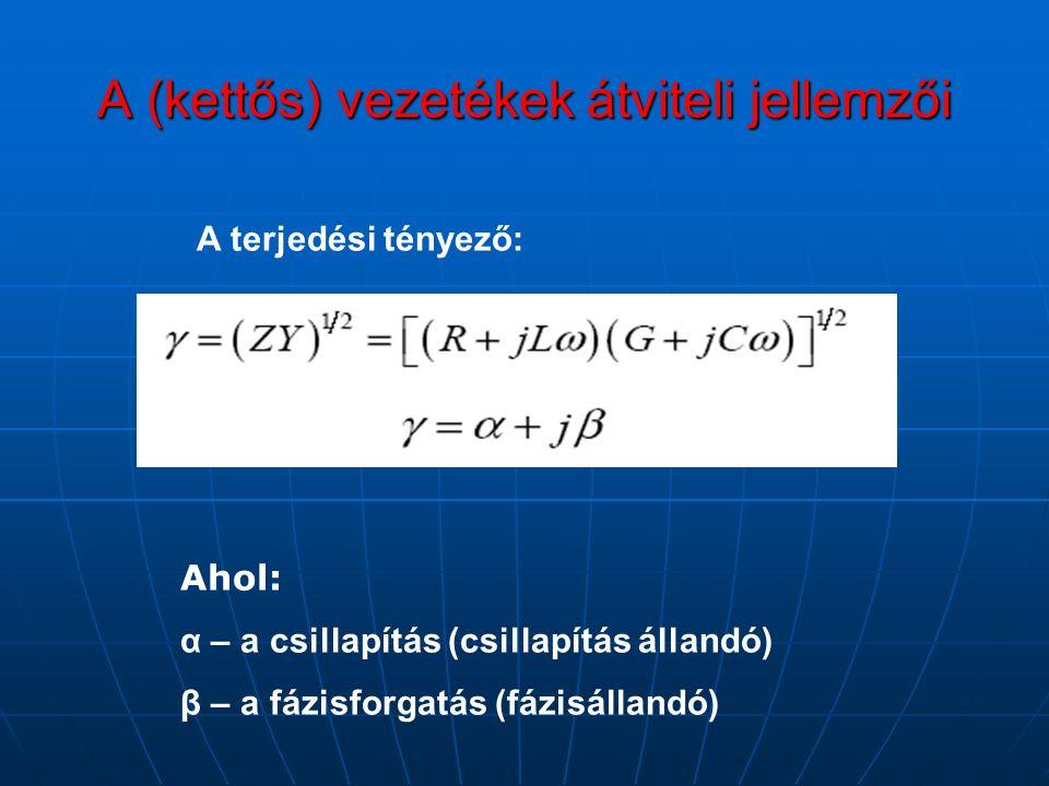 A (kettős) vezetékek átviteli jellemzői A terjedési tényező: Ahol: α – a csillapítás (csillapítás állandó) β – a fázisforgatás (fázisállandó)