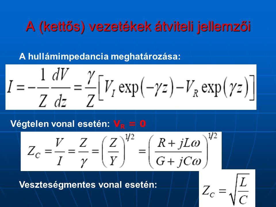 A (kettős) vezetékek átviteli jellemzői A hullámimpedancia meghatározása: Végtelen vonal esetén: V R = 0 Veszteségmentes vonal esetén: