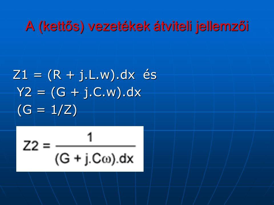 A (kettős) vezetékek átviteli jellemzői Z1 = (R + j.L.w).dx és Y2 = (G + j.C.w).dx Y2 = (G + j.C.w).dx (G = 1/Z) (G = 1/Z)