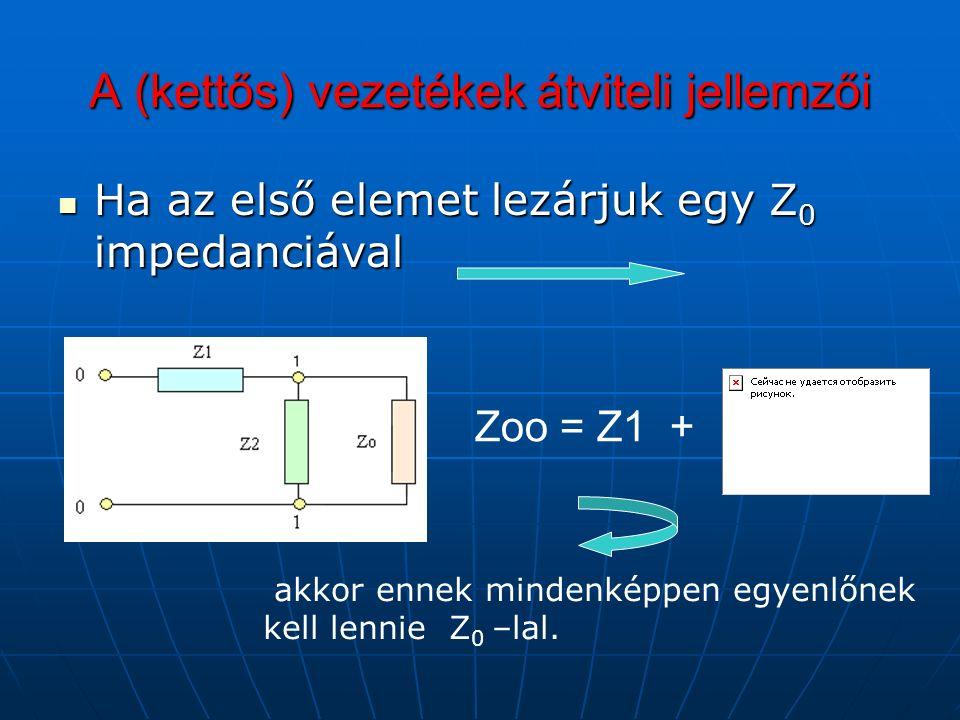 A (kettős) vezetékek átviteli jellemzői Ha az első elemet lezárjuk egy Z 0 impedanciával Ha az első elemet lezárjuk egy Z 0 impedanciával Zoo = Z1 + akkor ennek mindenképpen egyenlőnek kell lennie Z 0 –lal.