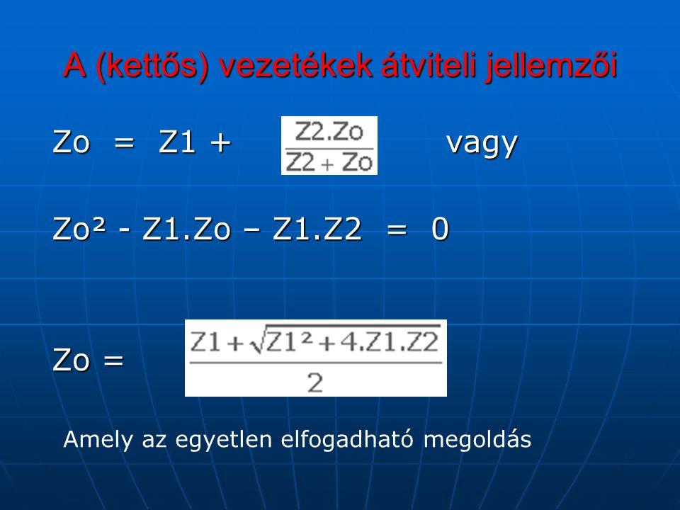 A (kettős) vezetékek átviteli jellemzői Zo = Z1 + vagy Zo = Z1 + vagy Zo² - Z1.Zo – Z1.Z2 = 0 Zo² - Z1.Zo – Z1.Z2 = 0 Zo = Zo = Amely az egyetlen elfogadható megoldás