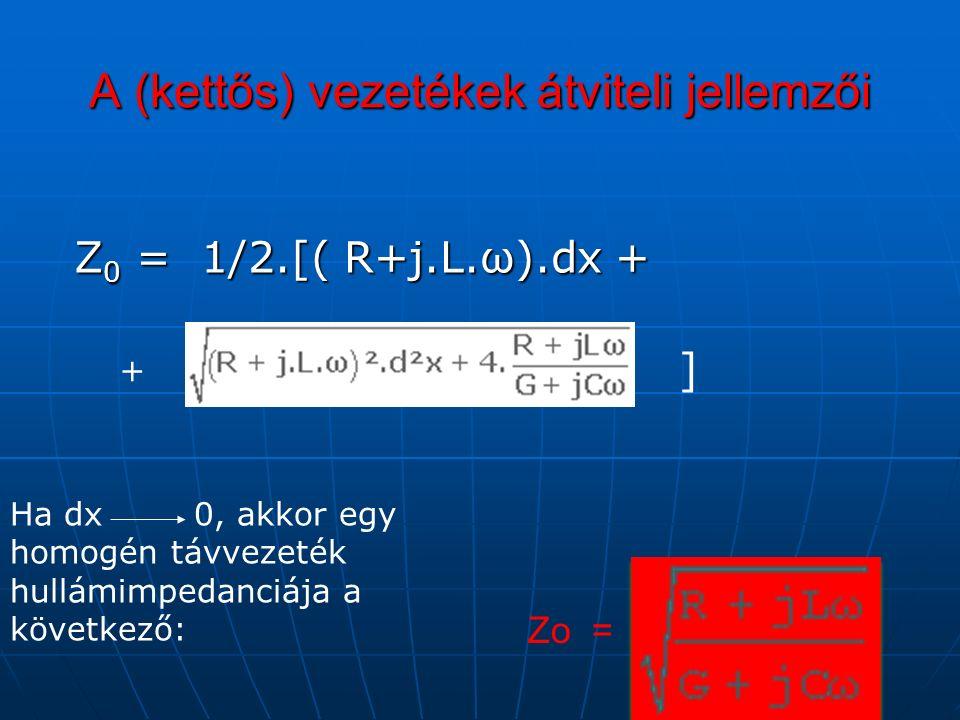 A (kettős) vezetékek átviteli jellemzői Z 0 = 1/2.[( R+j.L.ω).dx + Z 0 = 1/2.[( R+j.L.ω).dx + + ] Ha dx 0, akkor egy homogén távvezeték hullámimpedanciája a következő: Zo =